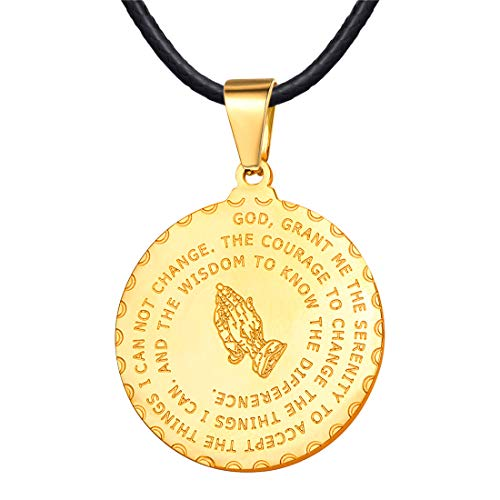 U7 Men Women Bible Verse Prayer Necklace 18K Gold Plated Praying Hands Round Coin Medal Pendant with 2mm Black Leather Chain 24