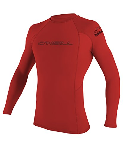 Oneill Mens Basic Skins Long Sleeve Rashguard, Red - LG by O'Neill Wetsuits