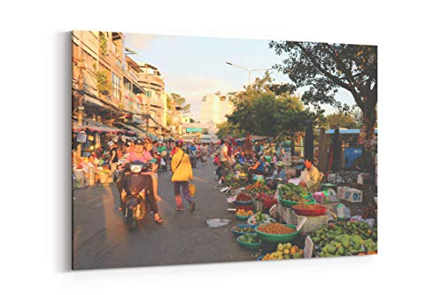 (China Town Ho Chi Minh Vietnam and Fruit in Ho Chi Minh Vietnam - Canvas Wall Art Gallery Wrapped 18