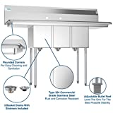 KoolMore 3 Compartment Stainless Steel NSF