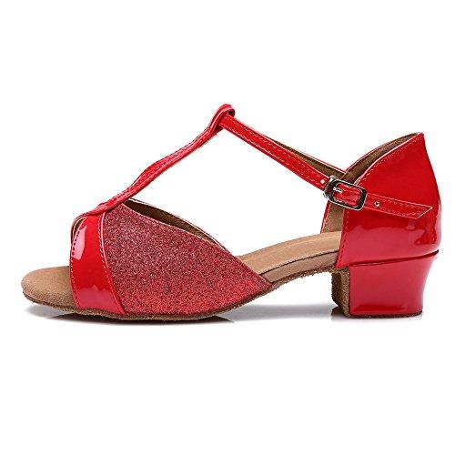 Performance Red Girls Shoes Standard Dance UKA305 Ballroom Salsa Latin YKXLM Shoes amp;Women's Model Sqnpnxa