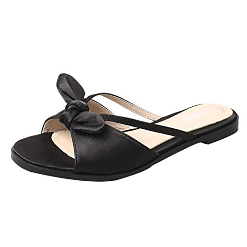 Elevin (tm) Mujeres Summer Roman Bowknot Peep-toe Chanclas De Plataforma Baja Zapatillas Sandalias Negro