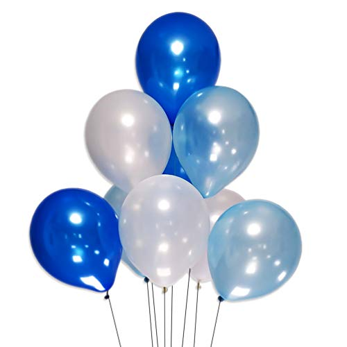 AZOWA White Blue Royal Latex Balloons 12 inch Party Balloon Decorations Pack of 100 for Wedding Baby Shower Birthday Party Festival Celebrate Decorations -