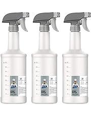 MR.SIGA Sprayflaskor i plast för rengöringslösningar, HDPE påfyllningsbara sprayflaskor i kommersiell kvalitet med mätningar och justerbart läckagesäkert munstycke, 3-pack