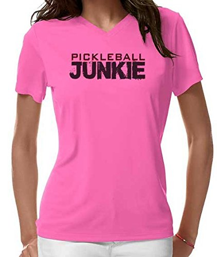 "Pickleball Up ""Pickleball Junkie"" Dri Fit Women's Shirt (Neon Pink, Small)"