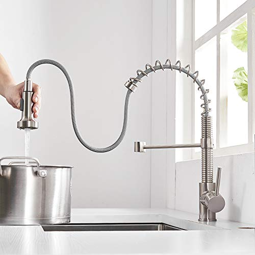 OWOFAN Pull Out Kitchen Faucet Low Lead Commercial Single Handle Pull Down Sprayer Spring Kitchen Sink Faucet, Brushed Nickel Kitchen Faucets with Deck Plate 866055SN