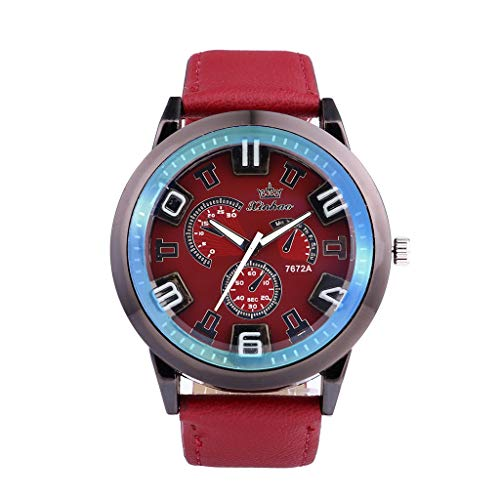 XBKPLO Mens Quartz Watch,Retro Sport Luxury Large Dial Analog Mechanical Wrist Watches Leather Strap Fashion Jewelry Gift A ()