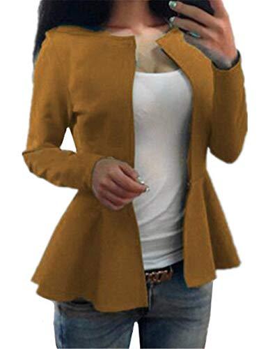 Collo Fit Giacca Giallo Rotondo Moda Outerwear Manica Lunga Marca Autunno Slim Outwear Donna Monocromo Mode Irregular Cardigan Coat Di P8n0wkXO