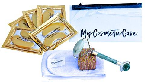 Collagen Fiber Mask - MyCosmeticCase Anti Aging Facial Spa Kit | Face Neck Jade Massage Roller | Crystal Collagen Gold Eye Mask (5) pairs | Microfiber Headband-Bonus PVC Cosmetic Bag