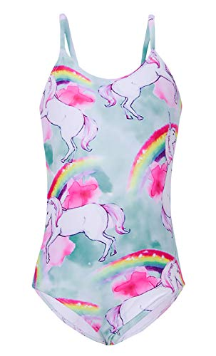 (Little Big Girls' One-Piece Rainbow Unicorn Swimwear Beach Kids Princess Light Blue Swimiming Costume 3D Print Swim Swimsuit Vacation Pool Diving Sports Fish Tankini Bathing Suit)