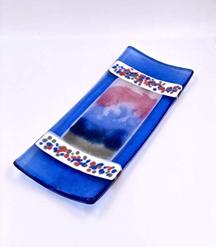 Contemporary Handcrafted Fused Glass Decorative Plate in Blue, Rose Pink, Gray and White