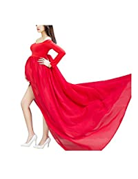 Aivtalk Maternity Sleeved Photography Dress Split Front Off Shoulder Gowns with Underwear
