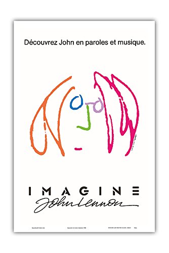Imagine - Starring The Beatles' John Lennon - Discover John in Words and Music - Vintage Film Movie Poster by John Lennon 1988 - Master Art Print - 12in x 18in