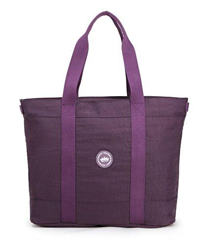 Crest Design Women handbag Tote Shoulder Bag for Laptops up to 17 inch (X-Large, Orchid)