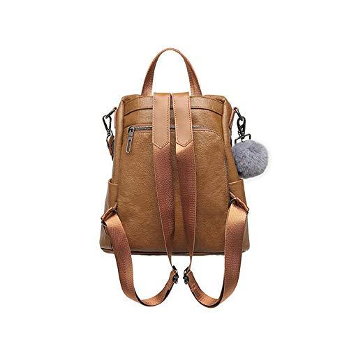 Versatile Shoulder Vintage Bag Backpack Function Multi Brown Ladies 7xEvqUwU