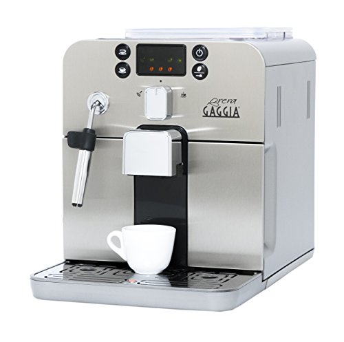 Gaggia Brera Super Automatic Espresso Machine in Silver. Pannarello Wand Frothing for Latte and Cappuccino Drinks. Espresso from Pre-Ground or Whole Bean Coffee. Auto Espresso Machine