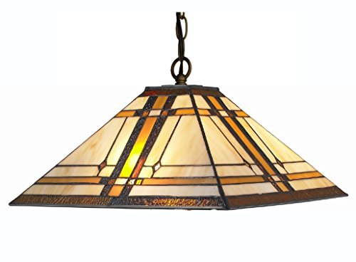 Amora Lighting AM1053HL14 Tiffany Style Mission Hanging Lamp, Multi
