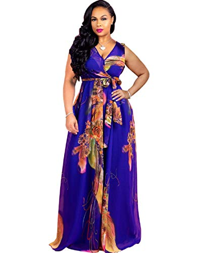 (Bushangban Womens See Through Deep V Neck Printed Floral Maxi Dress Lining Dresses Hem High Waisted Plus Size)