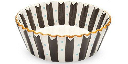 - Blue Brulee Hand Painted Large Ruffled Dessert Bowl