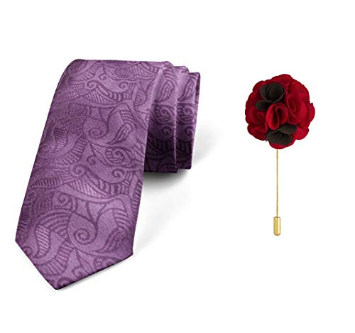 Axlon Men's Micro Polyester Paisley Necktie Set with Pocket Square and Brooch Pin (Purple, Free Size)