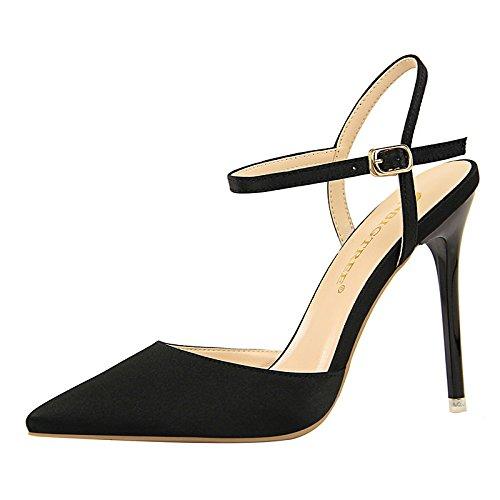 ZHZNVX Zapatos de mujer fur Primavera Verano sandalias Gladiador bomba básica Stiletto talón por parte Casual,Tarde gris marrón rojo rosa almendra Black