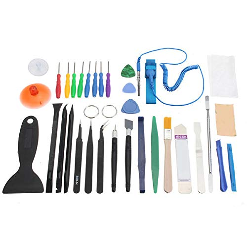 34Pcs Universal Screen Removal Professional Opening Repair Kit Pry For Tablet Smartphone - Tablet Accessories Tablet Gadgets - (As picture),1 x Metal rod,1 x Flat crowbar,1 x Plastic