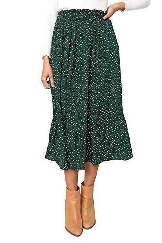Women Pleated Vintage Skirt Floral Print A-line Midi Skirts with Pockets Green X-Large