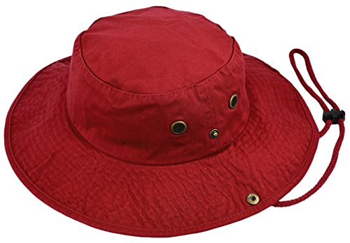 Summer Bucket Cap, Sun Hat with Adjustable Chinstrap, Outdoor Hunting Fishing Safari Boonie Hat (Red, Large/X-Large) (Boonie Hat Red)