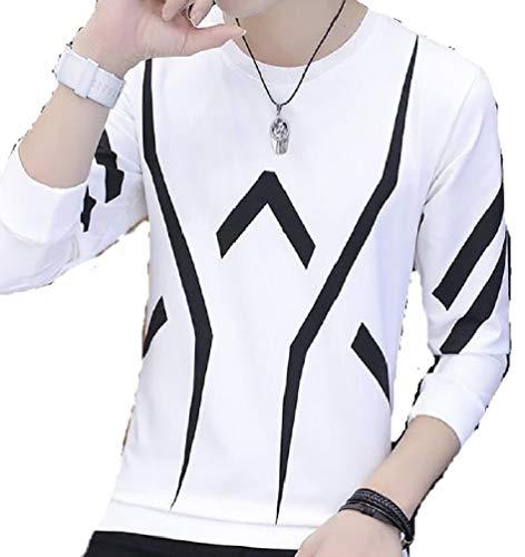 湿気の多い無駄だ枕MSP メンズ シャツ 長袖 Tシャツ ボーダー 柄 ライン プリント スリム カジュアル