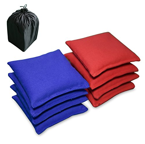 AceLife Weather Resistant Cornhole Bags Set of 8 with Recycled Plastic Pellets (California Proposition 65 Approved), Red & (Wild Sales Mini Tailgate)