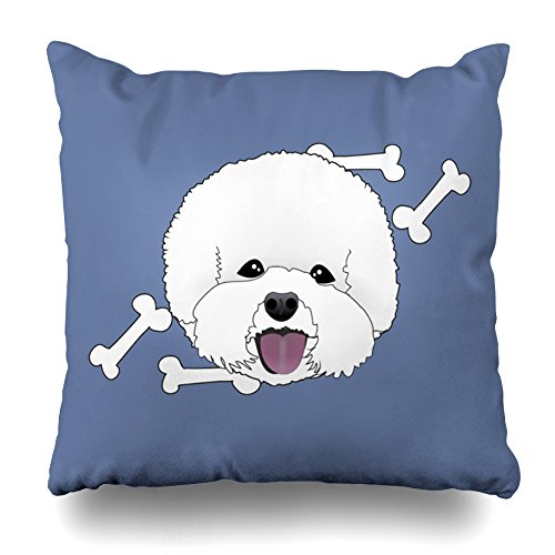 ONELZ Bichon Frise Cute Cartoon Style Illustrated Dog Square Decorative Throw Pillow Case, Fashion Style Zippered Cushion Pillow Cover £¨18 x 18 inch£ (Breed Portrait Throw)