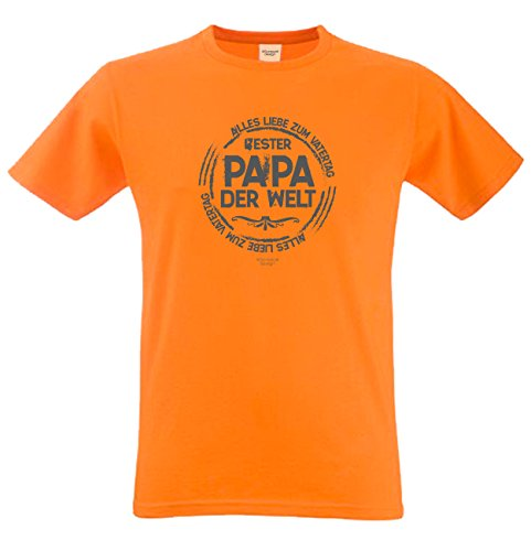 T-Shirt - Bester Papa der Welt - Alles Liebe zum Vatertag Orange - lustiges Sprüche Shirt als Geschenk zum Vatertag für Väter mit Humor