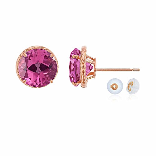 Pink & Topaz Earrings Garnet (14K Rose Gold 7mm Round Pink Topaz Rope Frame Stud Earring with Silicone Back)