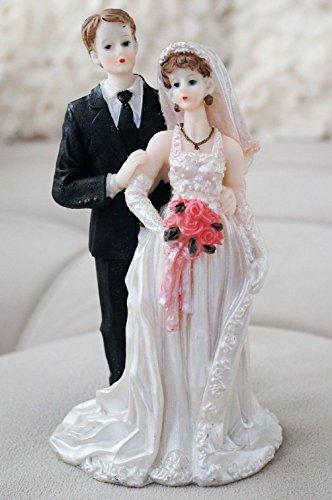 Halter Sash (Dorigan home series Vintage Bride And Groom Cake Topper W/Rose Bouquet Halter Wedding Dress)