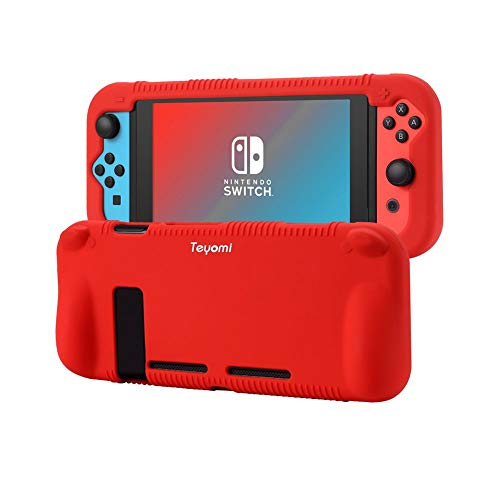 Teyomi Protective Silicone Case Compatible with Nintendo Switch Case with Tempered Glass Screen Protector (Red)