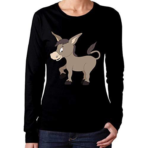 SiTox Women's Cute Donkey Long Sleeve T Shirt Black,Black,Small