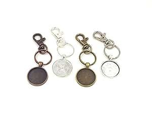 12 1 inch Circle Pendant Trays with key chain - Mixture - 1 inch - Pendant Blanks Cameo Bezel Settings Photo Jewelry - Custom Jewelry Making Deannassupplyshop