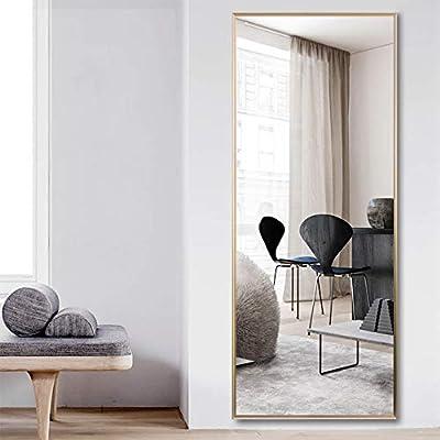 NeuType Full Length Mirror Floor Mirror with Standing Holder Bedroom/Locker Room Standing/Hanging Mirror Walnut Wood Dressing Mirror