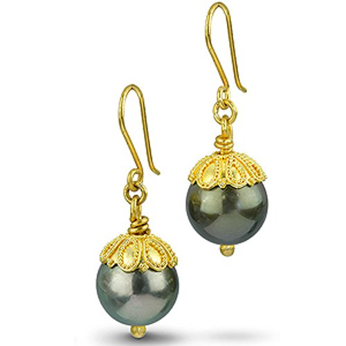 22k Gold & Tahitian Pearl Earrings ()