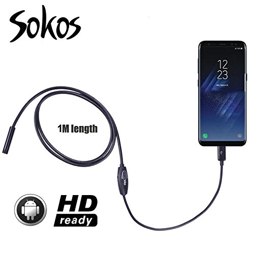 Endoscope, Snake Camera, Sokos Micro USB Borescope Waterproof Inspection Camera for Laptops and USB OTG Compatible Android Smartphones (1M | - Provision Sunglasses
