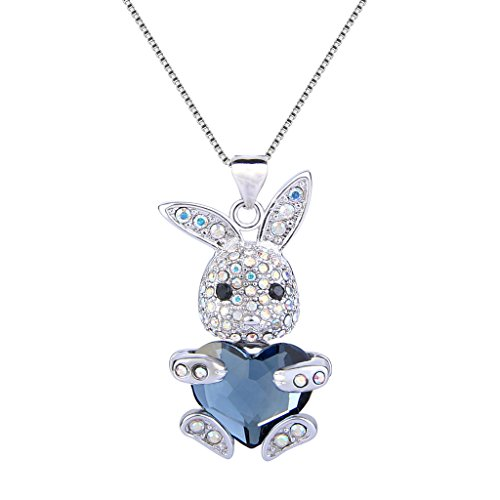 EleQueen Easter Day Womens Silver-Tone Bunny Heart Pendant Necklace Adorned with Swarovski Crystals