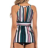 Jiayit Ladies large size color stripe print sexy bikini split swimsuit swimming skirt thick swimsuit beachwear (L)