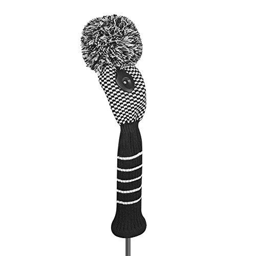 Gold Club Headcover (Just4Golf Check Golf Club Head Cover (Fairway), Black & White)