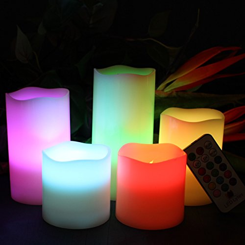 LED Lytes Flameless Candles Multicolor - Large Set of 5 Round Ivory Wax with Flickering Rotating Color Flame, auto-off Timer Remote Control For Weddings and Gifts by LED Lytes (Image #3)