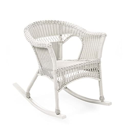 Plow & Hearth 39004-BWH Easy Care Outdoor Resin Wicker Rocker, Bright White