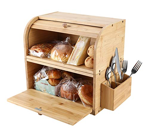 TQVAI Natural Bamboo 2 Layer Bread Storage Box Food Can Rack Organizer – Detachable Design – Can Use as 2 Individual…