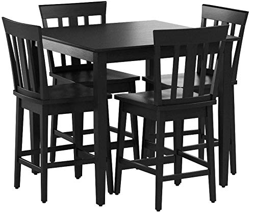 Mainstays 5-piece Counter Height Dining Set, Warm in Black by Maìnstay