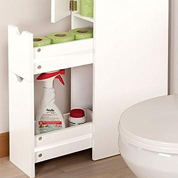 probache meuble wc tagre bois 3 portes blanc gain de place pour toilettes