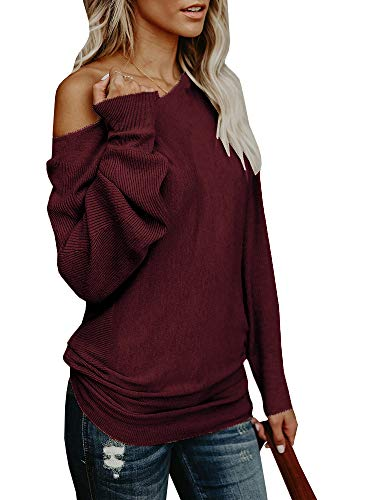 - Umeko Womens Off The Shoulder Sweater Oversized Knit Long Sleeve Sweaters Tunic Tops Burgundy