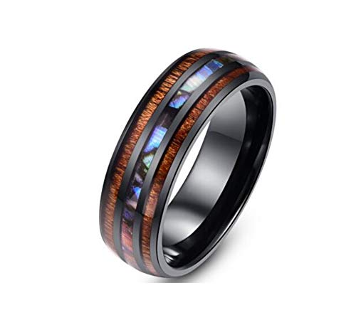 Multi Color Shell Ring - Blowin 8mm Hawaiian Koa Wood and Imitated Abalone Shell Inlay Black Stainless Steel Rings Engagement Wedding Bands for Men Women Comfort Fit (Size 13)
